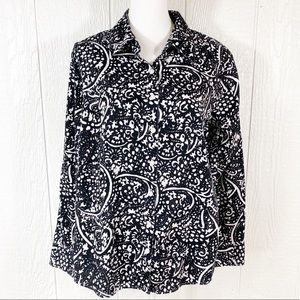 Westbound Woman Black And White Button Down Top 1X